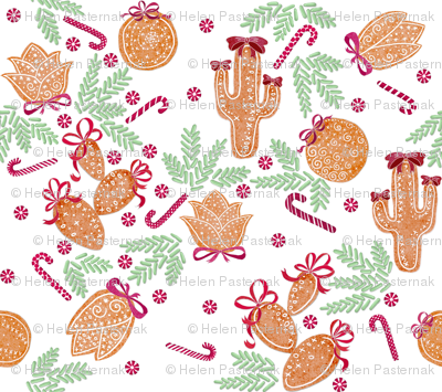 Holiday Cacti Gingerbread cookies #2 (white)