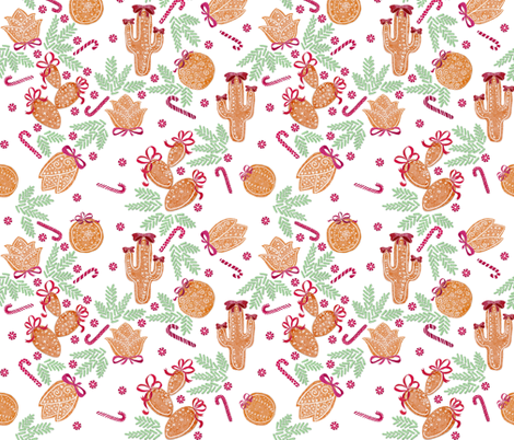 Holiday Cacti Gingerbread cookies #2 (white) fabric by helenpdesigns on Spoonflower - custom fabric