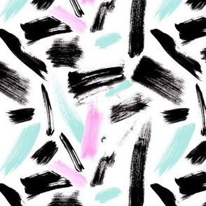 Black, mint and pink brush strokes Medium