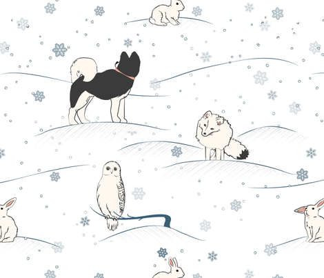 Arctic Hare and Friends fabric by yourfriendamy on Spoonflower - custom fabric