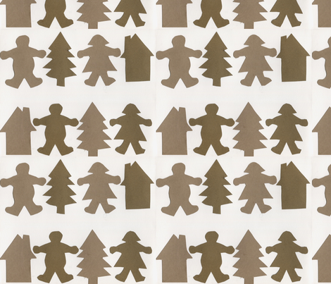 Gingerbread rows fabric by dizzybeedesigns on Spoonflower - custom fabric