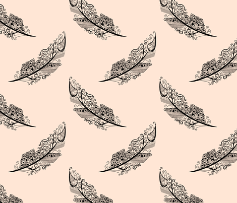 feather tattoo fabric by pamelachi on Spoonflower - custom fabric