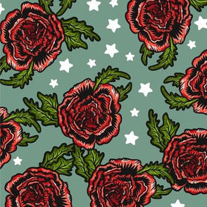 Roses on Green with White Stars