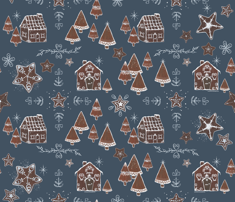 Gingerbread Houses and Cookies fabric by emmacochranedesign on Spoonflower - custom fabric