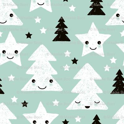 Merry christmas kawaii seasonal christmas trees and stars Japanese illustration print pastel mint LARGE