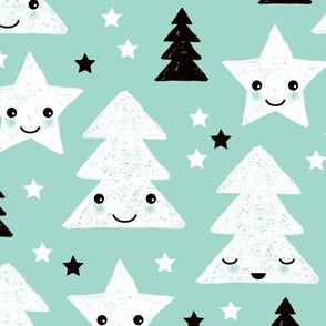 Merry christmas kawaii seasonal christmas trees and stars Japanese illustration print pastel mint LARGE