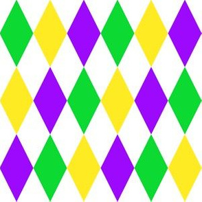 One Inch Mardi Gras Alternating Harlequin Diamonds on White