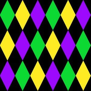 One Inch Mardi Gras Alternating Harlequin Diamonds on Black
