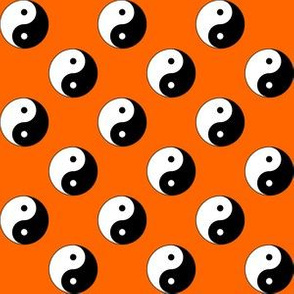 One Inch Black and White Yin Yang Symbols on Orange