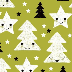Merry christmas kawaii seasonal christmas trees and stars Japanese illustration print pastel green LARGE