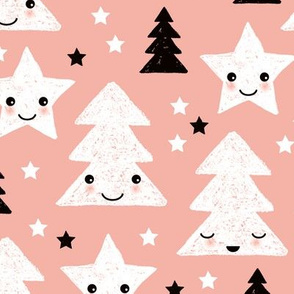 Merry christmas kawaii seasonal christmas trees and stars Japanese illustration print pastel pink LARGE
