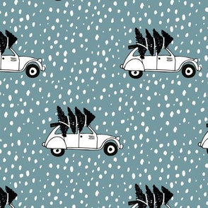 Driving home for Christmas Vintage french oldtimer car christmas tree winter snow wonderland Scandinavian style ice blue