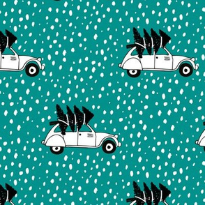 Driving home for Christmas Vintage french oldtimer car christmas tree winter snow wonderland Scandinavian style teal