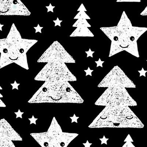 Merry christmas kawaii seasonal christmas trees and stars Japanese illustration print black and white LARGE