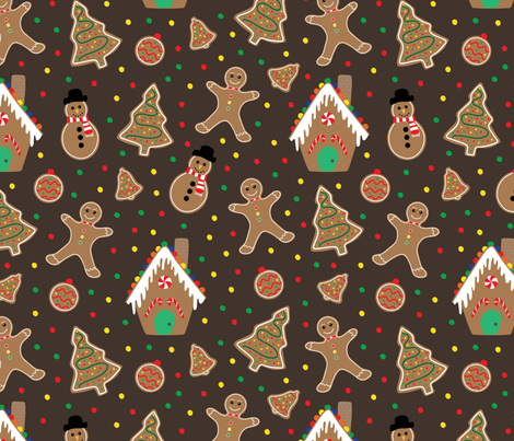 Gingerbread fabric by jolynart on Spoonflower - custom fabric