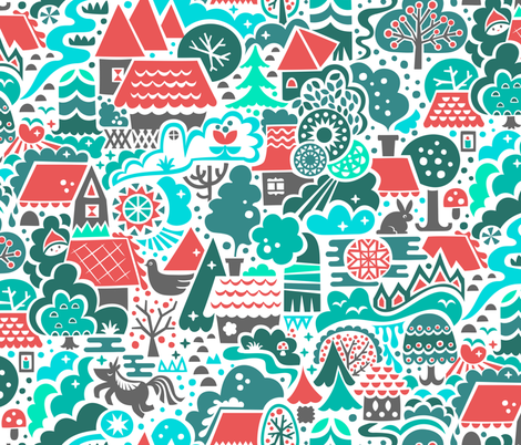 Deep in the Gingerbread Woods fabric by christinewitte on Spoonflower - custom fabric
