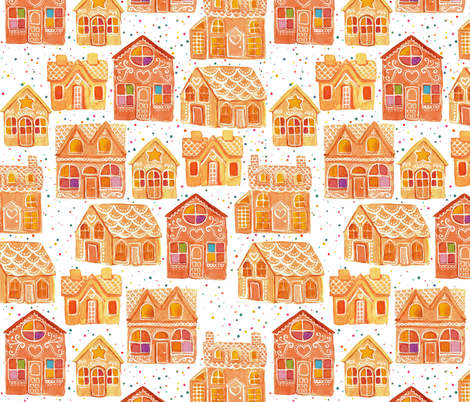 Gingerbread Houses fabric by ceciliamok on Spoonflower - custom fabric