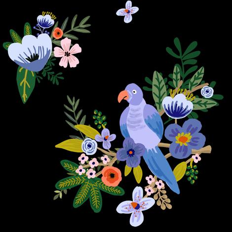 "8"" Kauai Blooms black fabric by shopcabin on Spoonflower - custom fabric"