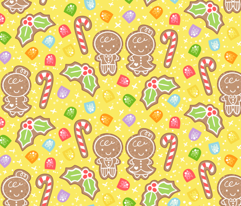 Gingerbread and Gumdrops fabric by hollybender on Spoonflower - custom fabric