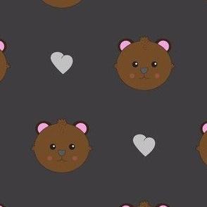 baby bear on dark grey