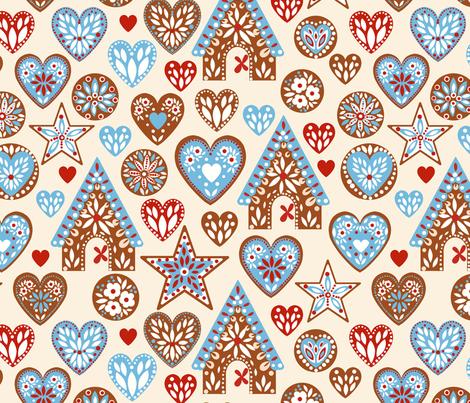 Love Gingerbread ©Kirsten Katz fabric by kirstenkatz on Spoonflower - custom fabric