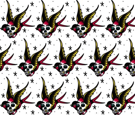 Skull Bird fabric by nickqtx on Spoonflower - custom fabric