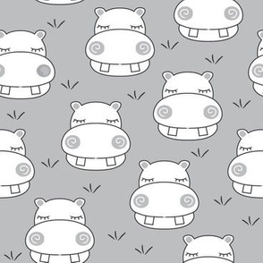 white hippos on grey