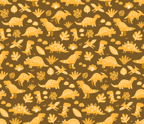 sketch dinos gingerbread pattern. cute prehistoric dinosaurs cookies design. fabric by kostolom3000 on Spoonflower - custom fabric