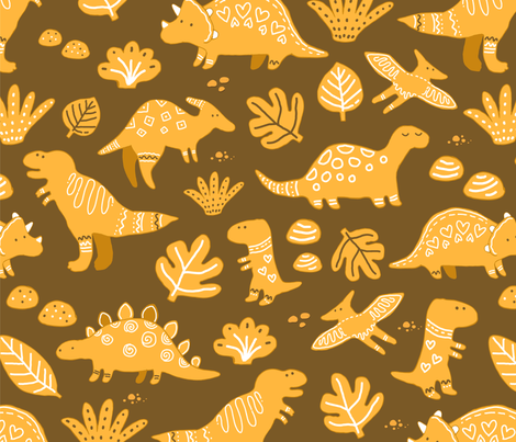 sketch_dinos_gingerbread_pattern fabric by kostolom3000 on Spoonflower - custom fabric