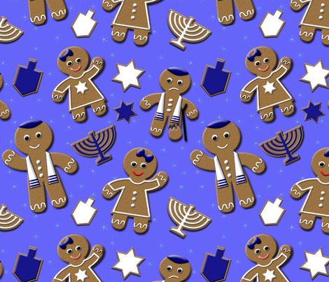Hanukkah Gingerbread  fabric by binge_crafter on Spoonflower - custom fabric