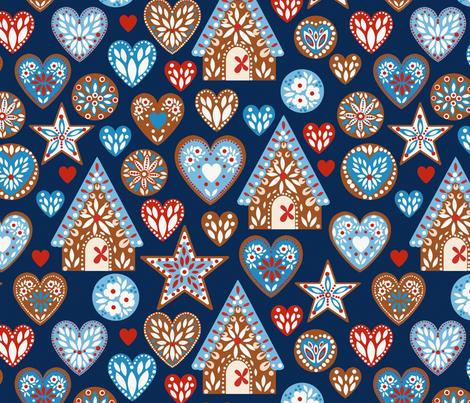 I Love Gingerbread ©Kirsten Katz fabric by kirstenkatz on Spoonflower - custom fabric
