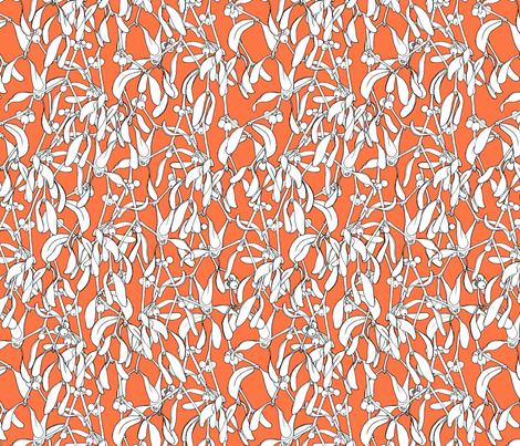 Winter Mistletoe Pattern Tangerine Big Scale fabric by nellik on Spoonflower - custom fabric