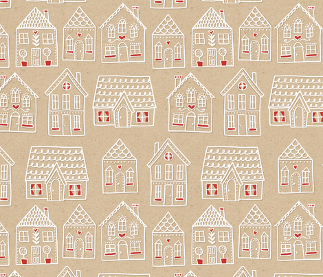 Gingerbread Houses All In A Row fabric by andie_hanna on Spoonflower - custom fabric