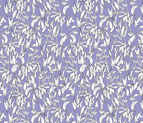 Winter Mistletoe Pattern Lilac fabric by nellik on Spoonflower - custom fabric