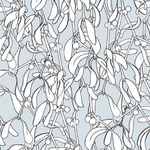 Winter Mistletoe Pattern Pale Grey Black Outlines
