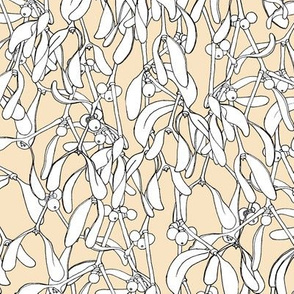 Winter Mistletoe Pattern Pale Honey