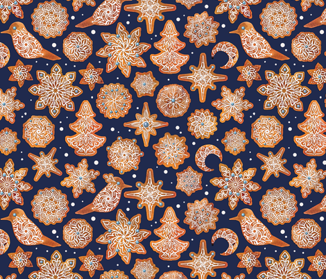 Gingerbread Snowflakes fabric by torysevas on Spoonflower - custom fabric