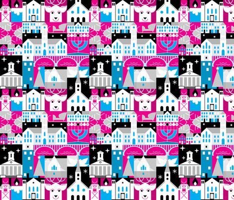 FXBG Holidays - pink, blue, and black fabric by printjazz on Spoonflower - custom fabric