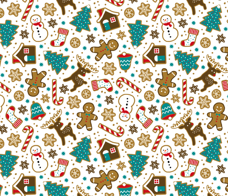 Christmas gingerbread cookies on white fabric by heleen_vd_thillart on Spoonflower - custom fabric