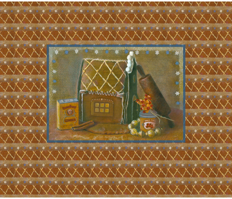 Baking Up Memories Gingerbread House fabric by nancy_lee_moran_designs on Spoonflower - custom fabric
