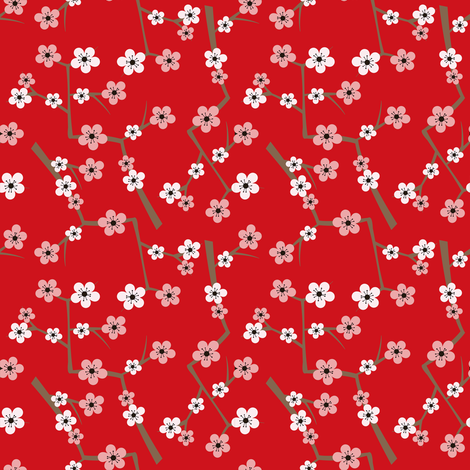 Cherry Blossom Red fabric by jannasalak on Spoonflower - custom fabric