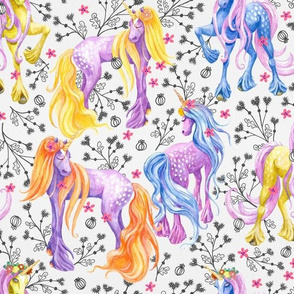 Unicorn Pattern Black Flowers