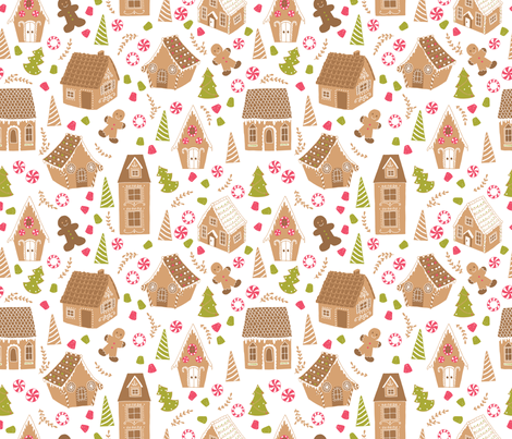 Gingerbread Town fabric by ldpapers on Spoonflower - custom fabric