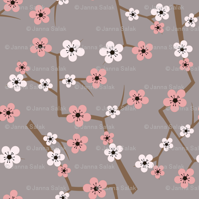 Cherry Blossom Soft Gray