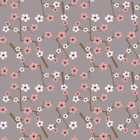 Cherry Blossom Soft Gray fabric by jannasalak on Spoonflower - custom fabric