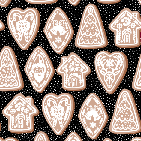 Festive Gingerbread Cookies fabric by pond_ripple on Spoonflower - custom fabric