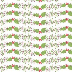 Woodland Christmas Holly Stripe