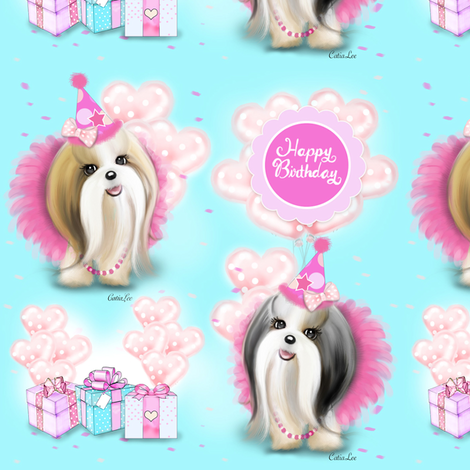 Shih Tzu Birthday girl party M fabric by catialee on Spoonflower - custom fabric