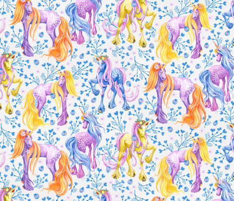 Unicorn Pattern Blue Flowers fabric by nellik on Spoonflower - custom fabric
