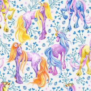 Unicorn Pattern Blue Flowers
